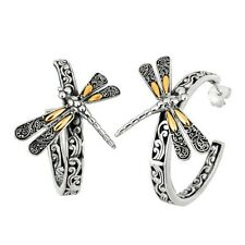 18K GOLD AND STERLING SILVER COMBINATION LARGE DRAGON FLY OPEN HOOP EARRING