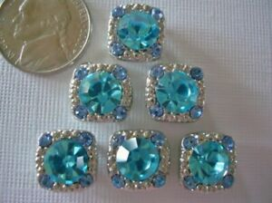 2 Hole Slider Beads Gaiety Aqua Crystals  Made with Swarovski Elements 6 Pieces