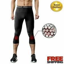 Men Basketball Padded Three-Quarter Tights Pants Honeycomb Knee Pads Trousers