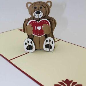 Pop Up Gift Card For Kids Birthday Greeting Postcard Creative Kirigami Laser Cut