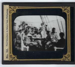 First U.S. Volunteers Return Home glass lantern slide Spanish American War 1900
