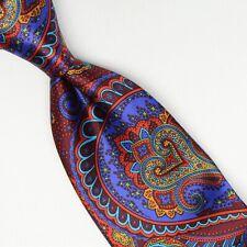 Josiah France Mens Silk Necktie Burgundy Red Purple Blue Green Paisley Satin Tie