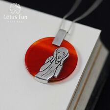 Unique Design Natural Agate Round Pendant for Women Solid 925 Silver Jewelry
