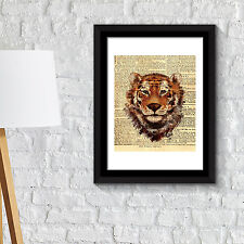 Wall Decoration Frames Tiger Newspaper Animal Poster Art Office Home Décor