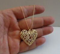 14K YELLOW GOLD OVER 925 STERLING SILVER HEART NECKLACE PENDANT W/ DIAMOND /18''