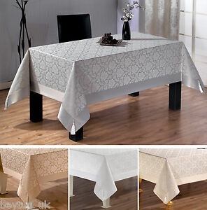 Large Luxury Polycotton Tablecloths in Grey, Beige, Cream and White 160 x 220CM