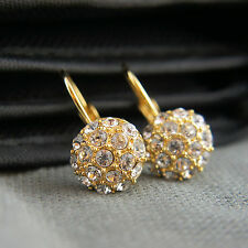 18k Gold GF with Swarovski elements dangle drop crystals balls earrings