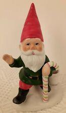 Vintage Porcelain Elf / Gnome Candle Holder Christmas Candy Cane Figurine Euc