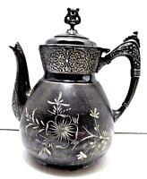 *OLD* WARNER QUADRUPLE SILVERPLATE ANTIQUE TEA COFFEE POT C 1800s  GREAT PATINA!