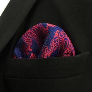 SHLAX&WING Paisley Blue Burgundy Red Pocket Square Mens Ties Silk Hanky