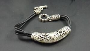 "Tribal Style Pewter and Rubber Slide Bracelet  -7.5"""