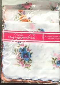 Pack of 6 floral ladies  handkerchiefs 80%poly/20%cotton