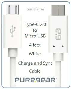 Puregear USB-C To Micro-USB Charge/Sync Cable (4 Ft. / 1.2m) - White / 61347PG