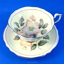 Handpainted Pink Wild Rose on Pale Yellow Paragon Tea Cup and Saucer