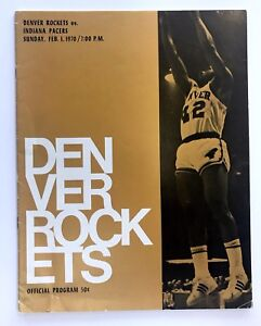 1969/70 DENVER ROCKETS VS INDIANA PACERS ABA PROGRAM LONNIE WRIGHT COVER 2/1/70