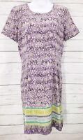 Austin Reed 100% Silk Dress Sz 6 Women Purple Short Sleeve Floral Lined