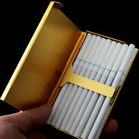 Aluminum Metal Pocket Cigarette Case Box Tobacco Holder Container Case Gold P4U2