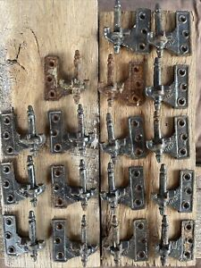 """Antique Cast Iron ACME Shutter Hinges 7-L 10-R 2 1/2"""" Males Lift Off Patented"""