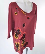 Lane Bryant Plus Size 3/4 Sleeve T Shirt Top Red Flocked Floral V Neck Tee 22 24