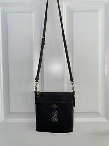 Coach x Disney Minnie Mouse Crossbody Purse-Black Leather