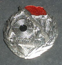 Vintage Soviet Russia Military Pin Black Center Target Red Flag Gun Factory
