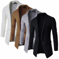 Men Long Sleeve Solid Casual Sweater Knitted Cardigan Slim Fit Jacket Suit Coat