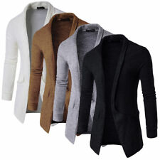 Mens Slim Fit Knitted Sweater Open Front Cardigan Blazer Suit Coat Casual Tops