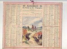 CALENDRIER, ALMANACH POSTES ET TELEGRAPHES - ANNEE 1941 - CHASSE AU LAPIN
