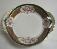 Antique Nippon Hand Painted Black & Gold w/Pink Roses Porcelain Handled Bowl