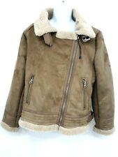Zara Women's Biker Coat Size XL Sherpa Lined Collar Buckle Asymmetric Zipper New