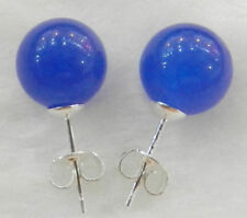 Pretty New Silver 10mm Natural Royal Blue Jade Round Ball Bead Stud Earrings