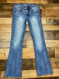 American Eagle Womens Medium Blue Denim Stretch X Kick Boot Jeans 2 Distressed