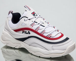 Fila Women's  Ray Low Top Lifestyle Shoes White Navy Red Sneakers 1010562-150