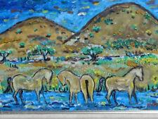 "Ivan Rane ""Santa Fe Horses"" oil on panoramic canvas board"
