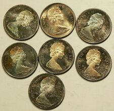1965 Canada 10 Cents Silver Multi Color Toning Lot of 7 UNC #3632