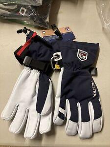 ! Hestra Army Leather Heli Ski Snowboard Gloves  Size 9 Large Unisex Navy Blue