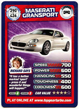 Maserati Gransport #290 Top Gear Turbo Challenge Trade Card (C362)