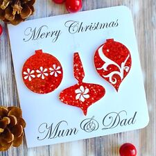 Merry Christmas Mum & Dad - Handmade Red Baubles Christmas Card for Parents