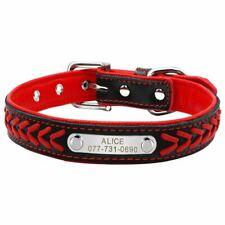 Leather Personalised Dog Collar Small Medium Large Boy Girl Dog Collar ID Tag