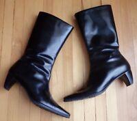 Naturalizer Womens 7 Black Career Dress Boots Square Toe Zip Heels 835N16 Brazil