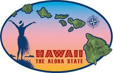 Car Window Bumper Sticker - Hawaiian Art Decal - Hawaiian Island Chain Hula Girl