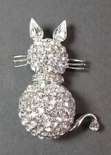 Cat Brooch White Diamante's with Silver Trim Rear View - Fashion Jewellery
