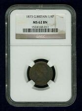 ENGLAND VICTORIA 1873 FARTHING UNCIRCULATED, CERTIFIED NGC MS62-BN