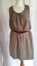 Miss Selfridge a Size 12 Sleeveless Smock Dress in a Brown/Bronze Colour