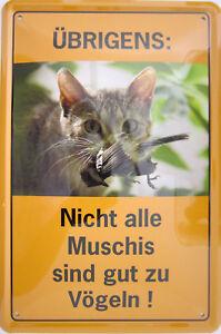 Blechschild Schild 20x30 cm NIcht alle Muschis sind gut zu Vögeln Katze Spruch