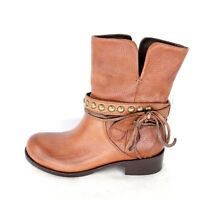 Ikkii Boots Leo Low Brown Ladies 36 37 Leather Lamb Fur Boots Shoes Np 359 Women's Shoes
