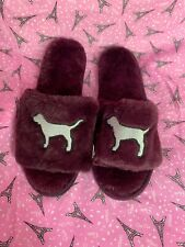 NWT VICTORIA'S SECRET PINK SLIPPERS SOFT SLIDES PLUM FUR DOG LOGO Medium v24