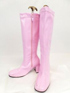 Pink Rubber Chunky heel Knee High GO GO Boots  Size UK 6