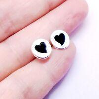 Herz schwarz rund Design Ohrringe Ohrstecker Stecker 925 Sterling Silber neu