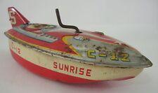 Vintage Speed Boat C-12 Sunrise Litho Wind-Up Toy Metal Made in Japan